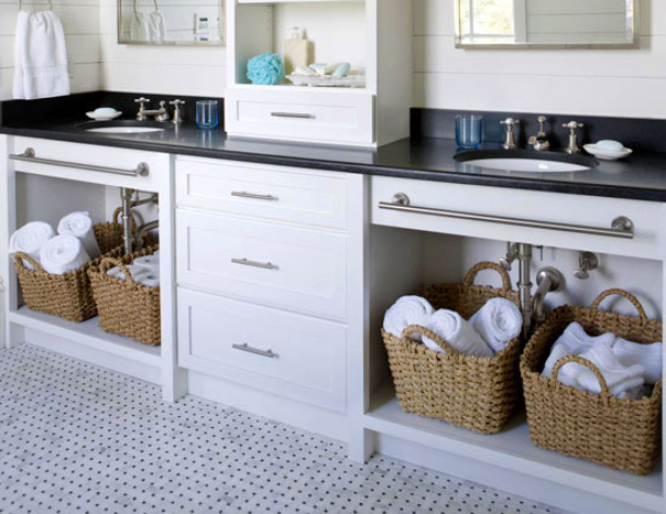 Baskets under bathroom vanity