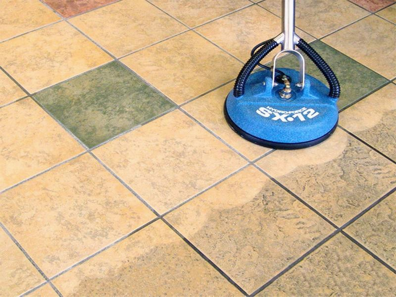 Rinse of the tile surface to remove any access soap or dirt.