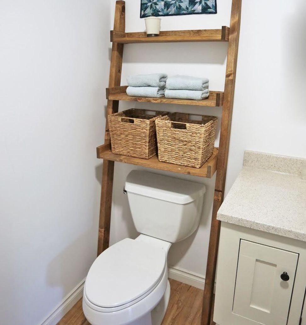Over the toilet ladder storage