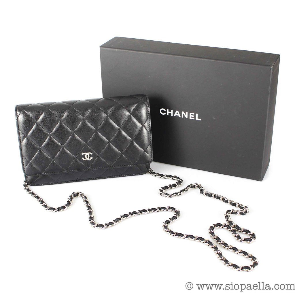 3d292ee6f2008a Chanel Black Lambskin Leather Wallet on Chain. Buy Now