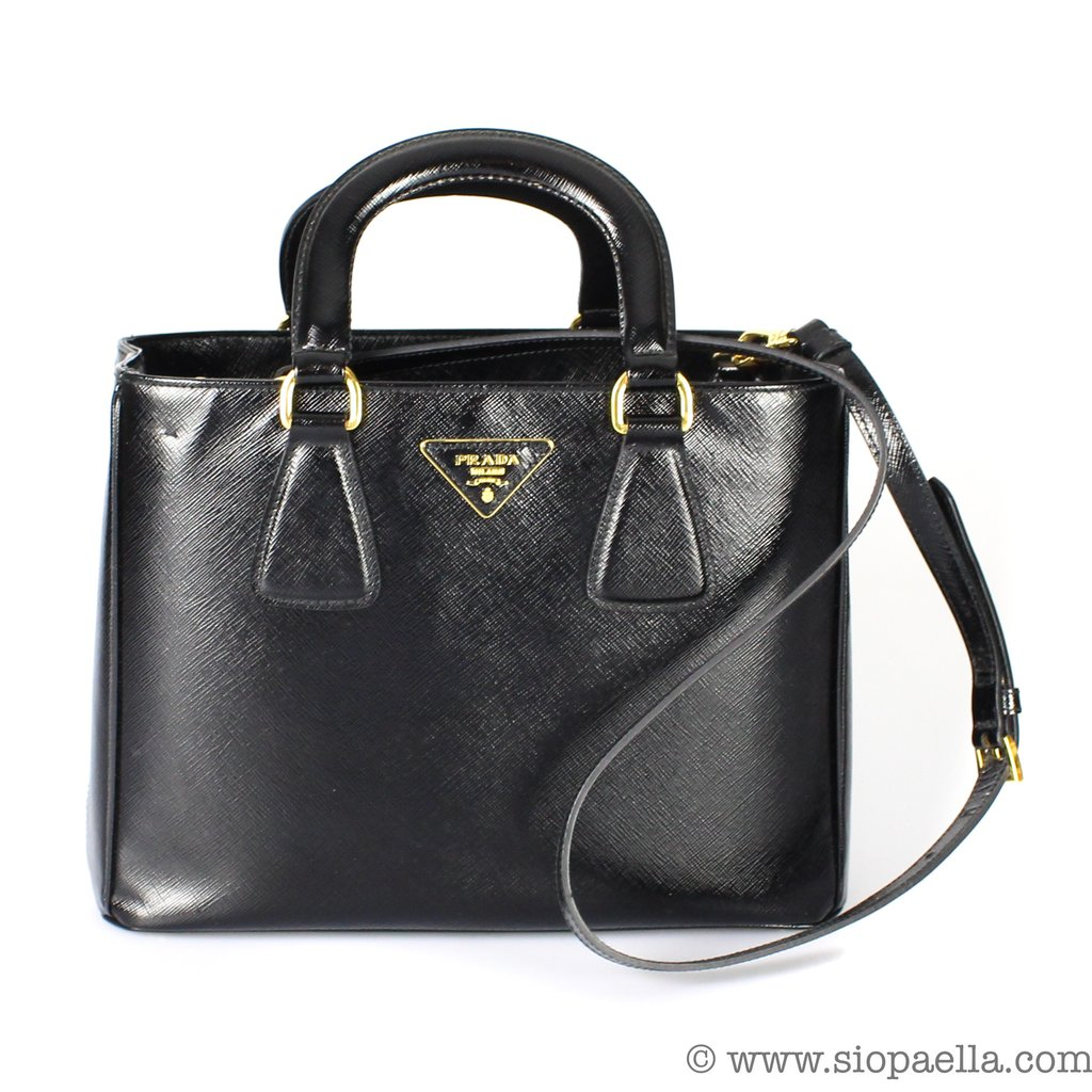 8ebbf8521ee7 Prada Black Patent Saffiano Mini Cross Body Bag