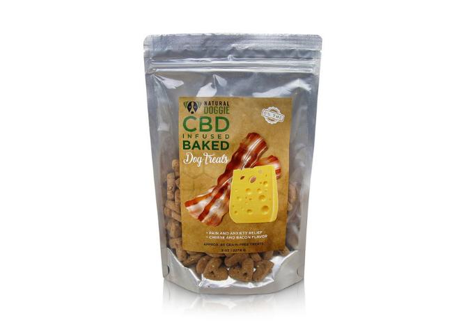 CBD infused bacon dog treat