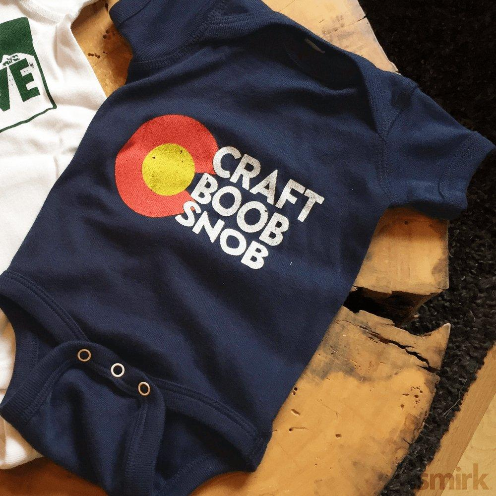 The Craft Boob Snob Onesie -  Colorado Onesie for Babies - Colorado Christmas Gift Guide for New Parents