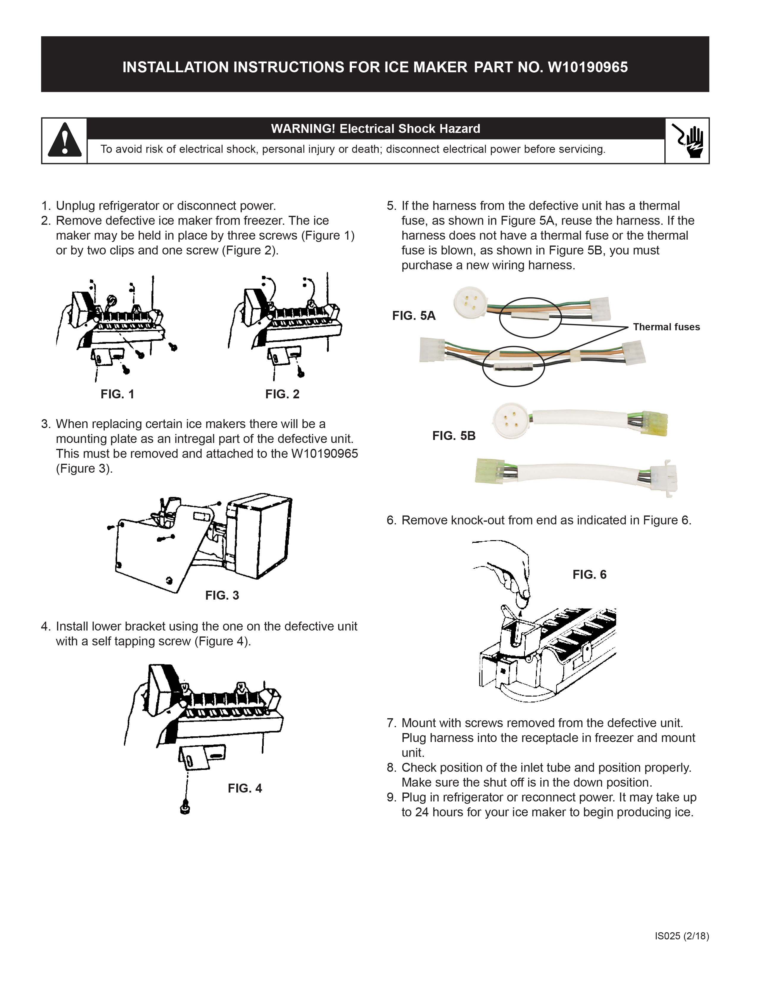 Installation Instructions - Replacement Ice Maker for SNAP Supply, LLC's  product W10190965