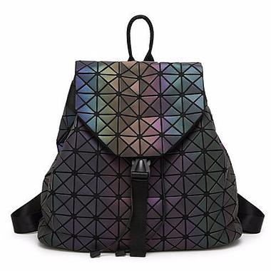 Black Luminous Iridescent Geometric Bookbag- Galactic Starlings collection-Spellcraftvh.com