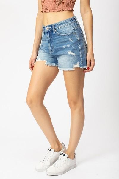 Stone Washed Distressed Denim Shorts