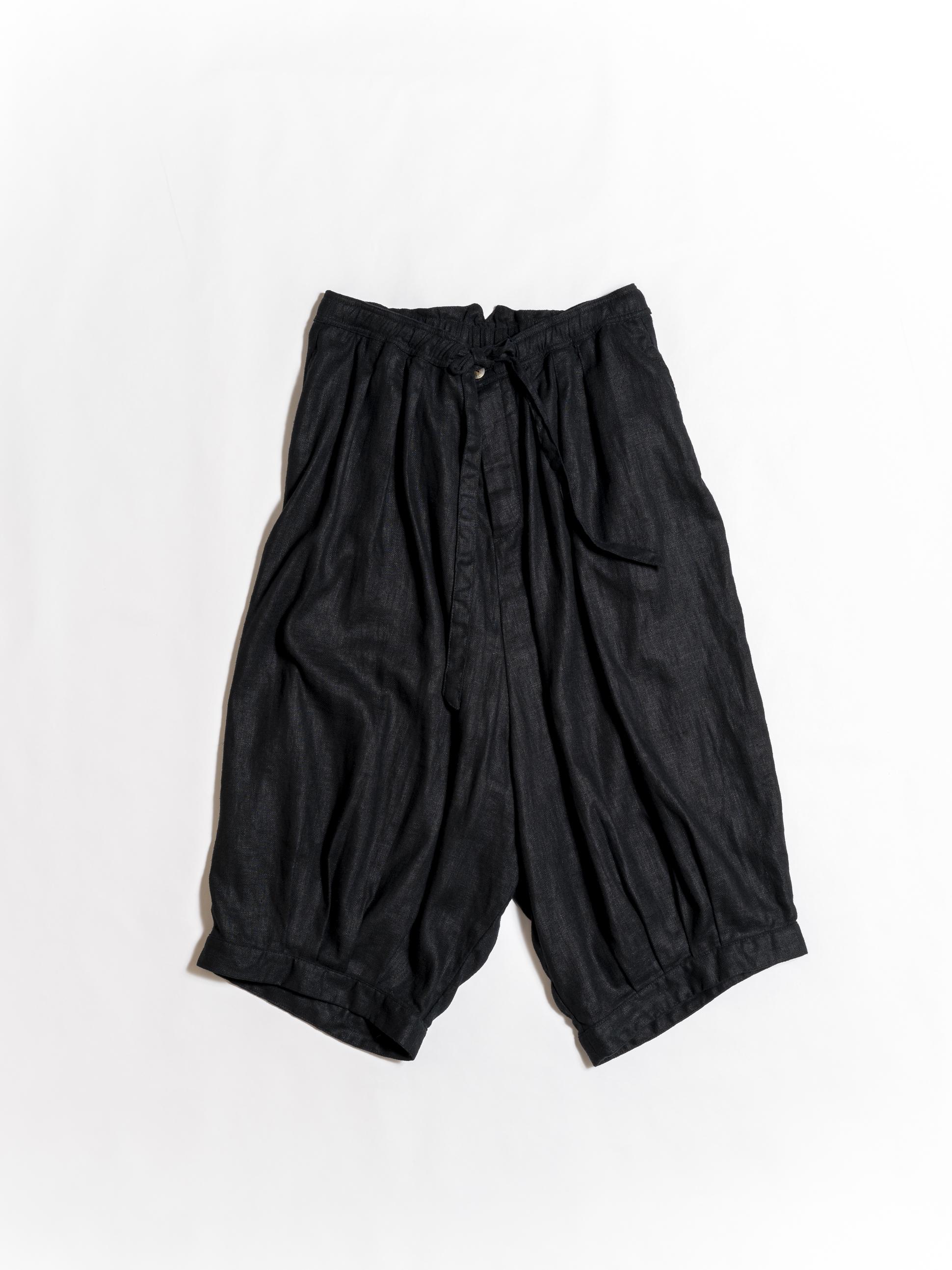 Drawstring Ballon Linen Cropped Pants