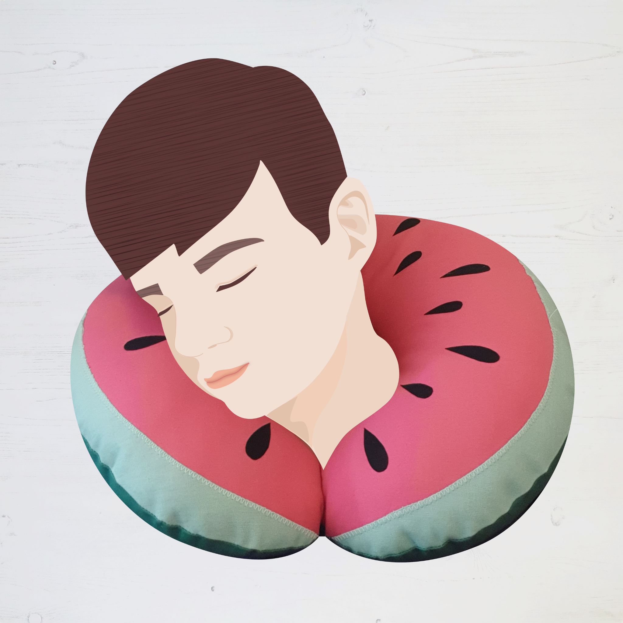Watermelon Neck Pillow sewing kit by Stitch Club