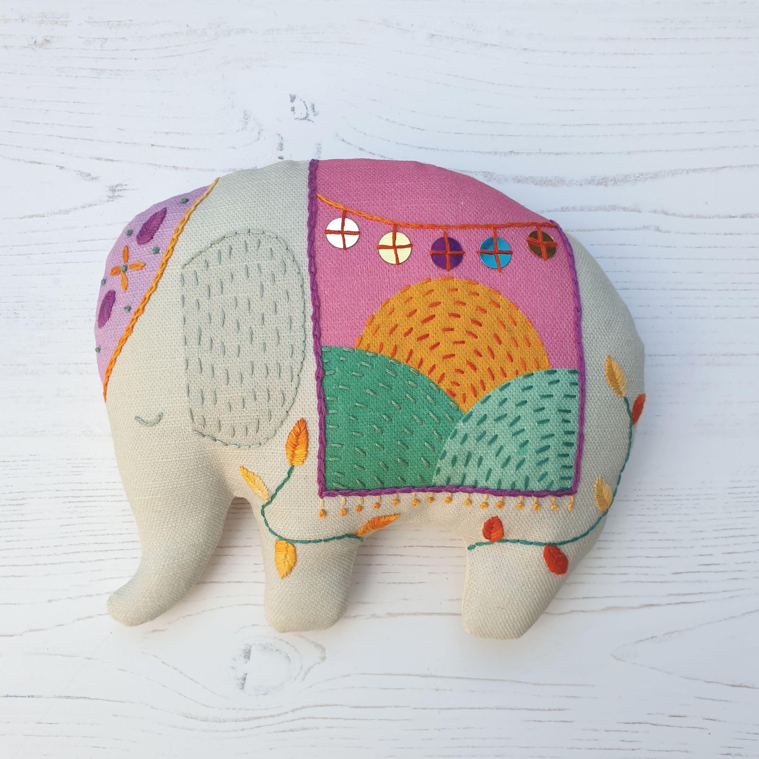 The embroidered elephant sewing kit by Stitch Club
