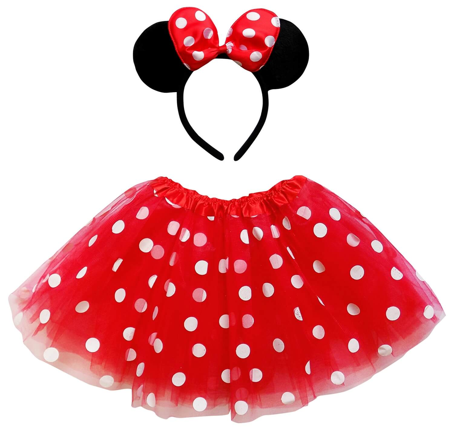 red polka dot minnie mouse tutu costume with ears