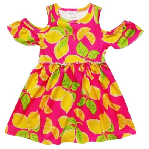 girls lemon cold shoulder dress