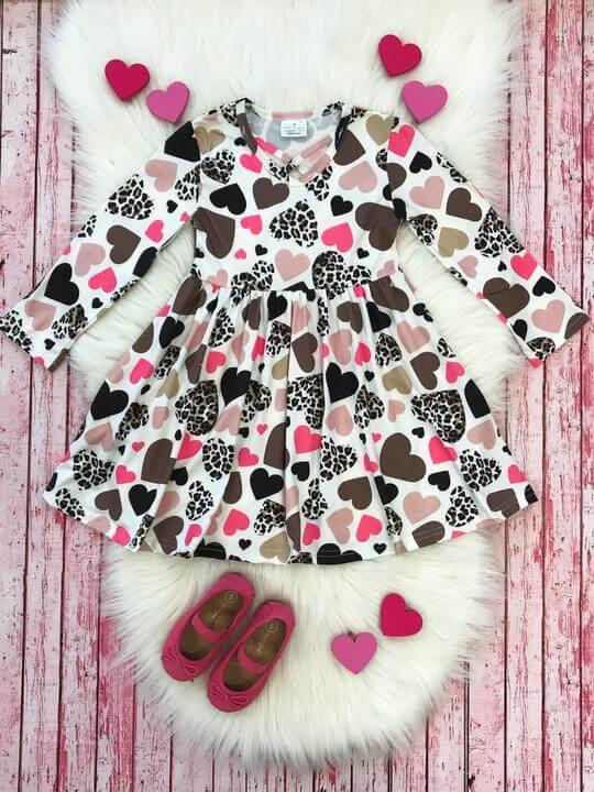 Girls Cheetah Patterned Heart Dress