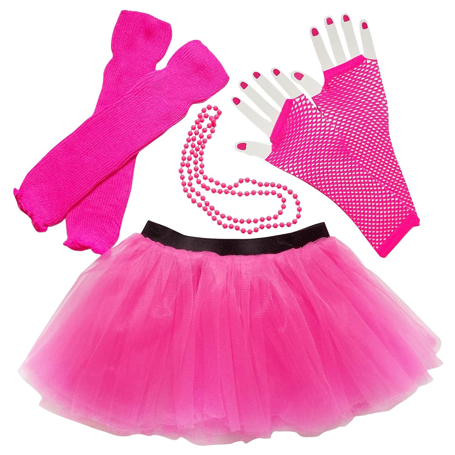 hot pink 80s party costume with tutu and leg warmers