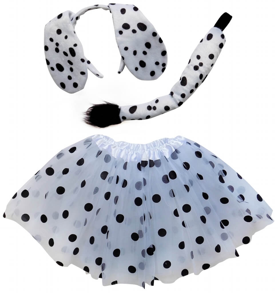 7103e16aa1 Dalmatian black polka dot white tutu comes in 3 sizes - kid, adult, and  plus. Elastic waist for a perfect fit every time. Pair with our dalmatian  headband ...