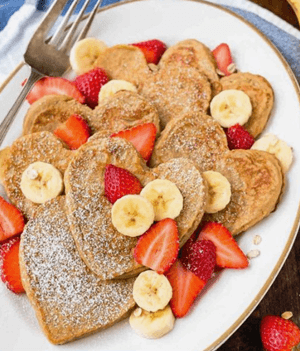 valentine's day heart pancakes