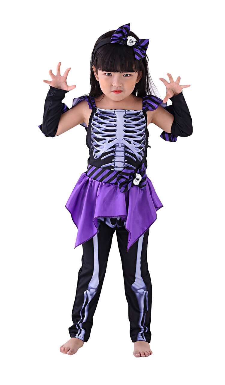 purple and black girls skeleton costume