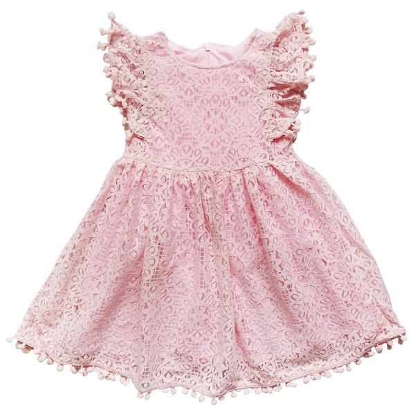 Girls Pink Lace Pom Pom Dress