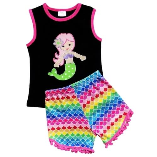 mermaid girls pom shorts outfit