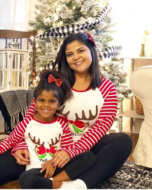 Mommy and me Christmas Reindeer Stripe T-Shirt