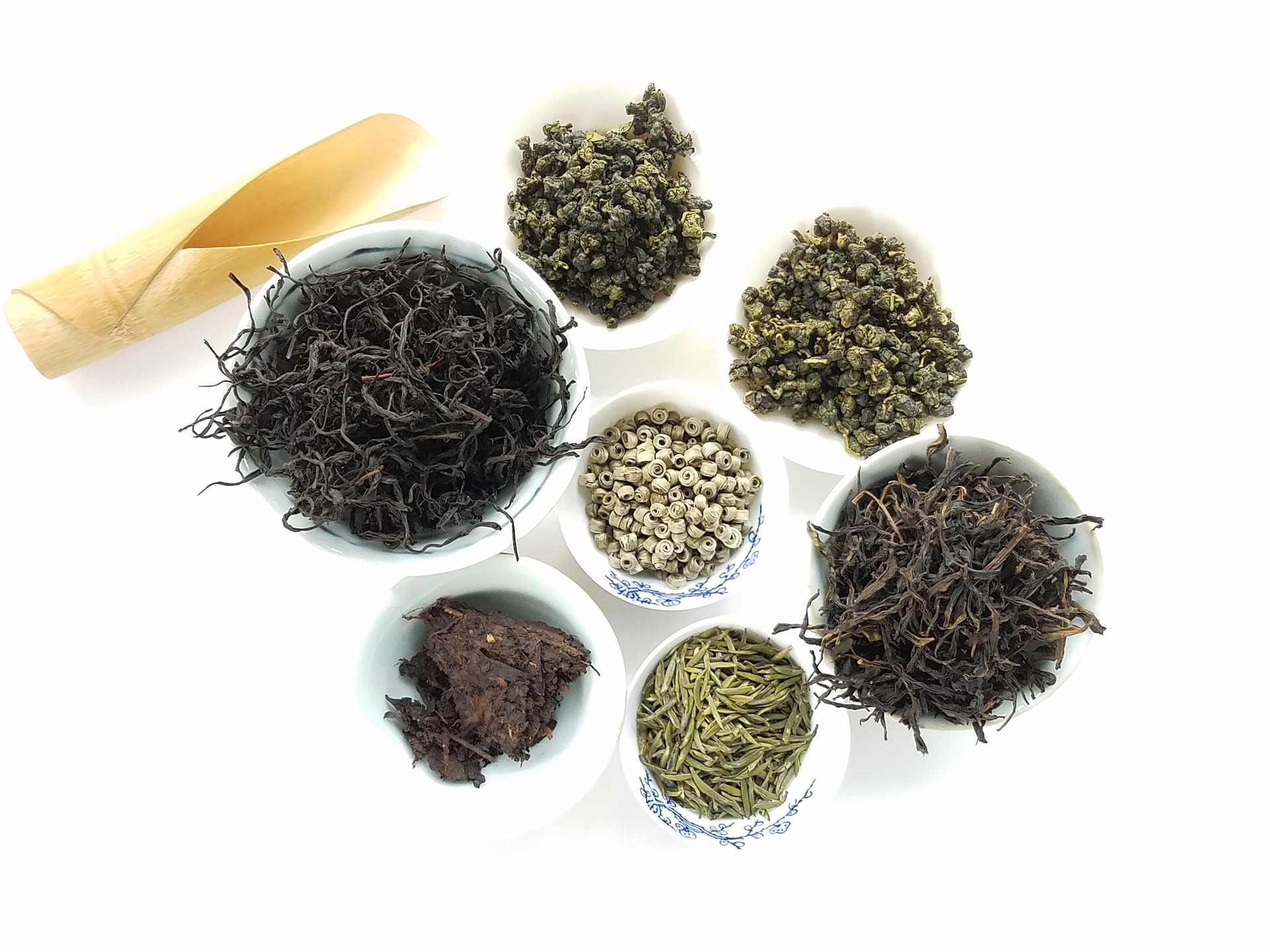 tea variety in china cups