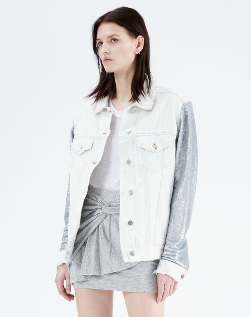 white denim womens jacket with silver sleeves by IRO Paris