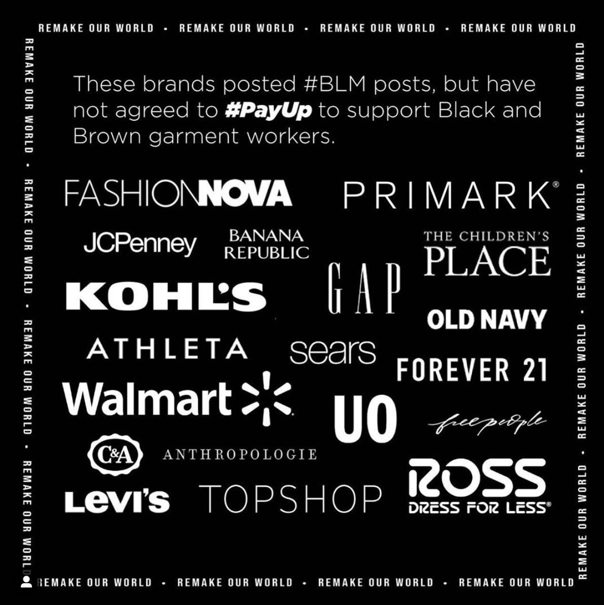 @remakeourworld post calling out fashion retailers for coopting #BLM
