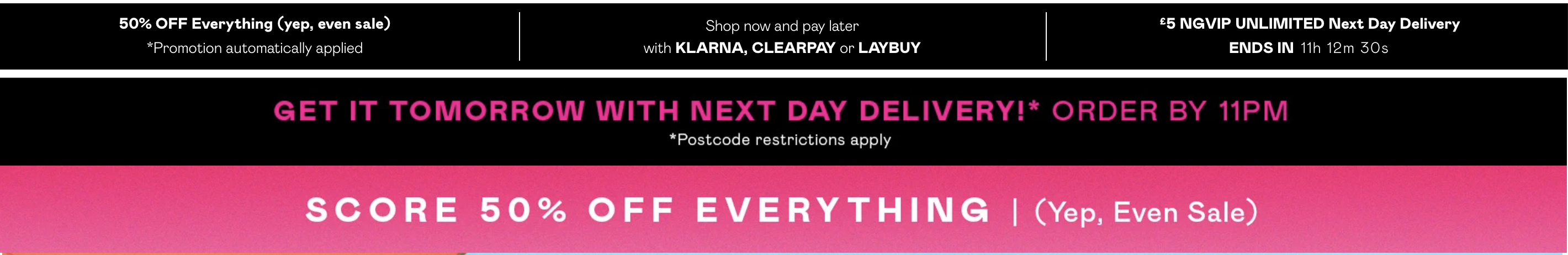 Nasty Gal homepage on the day of publishing