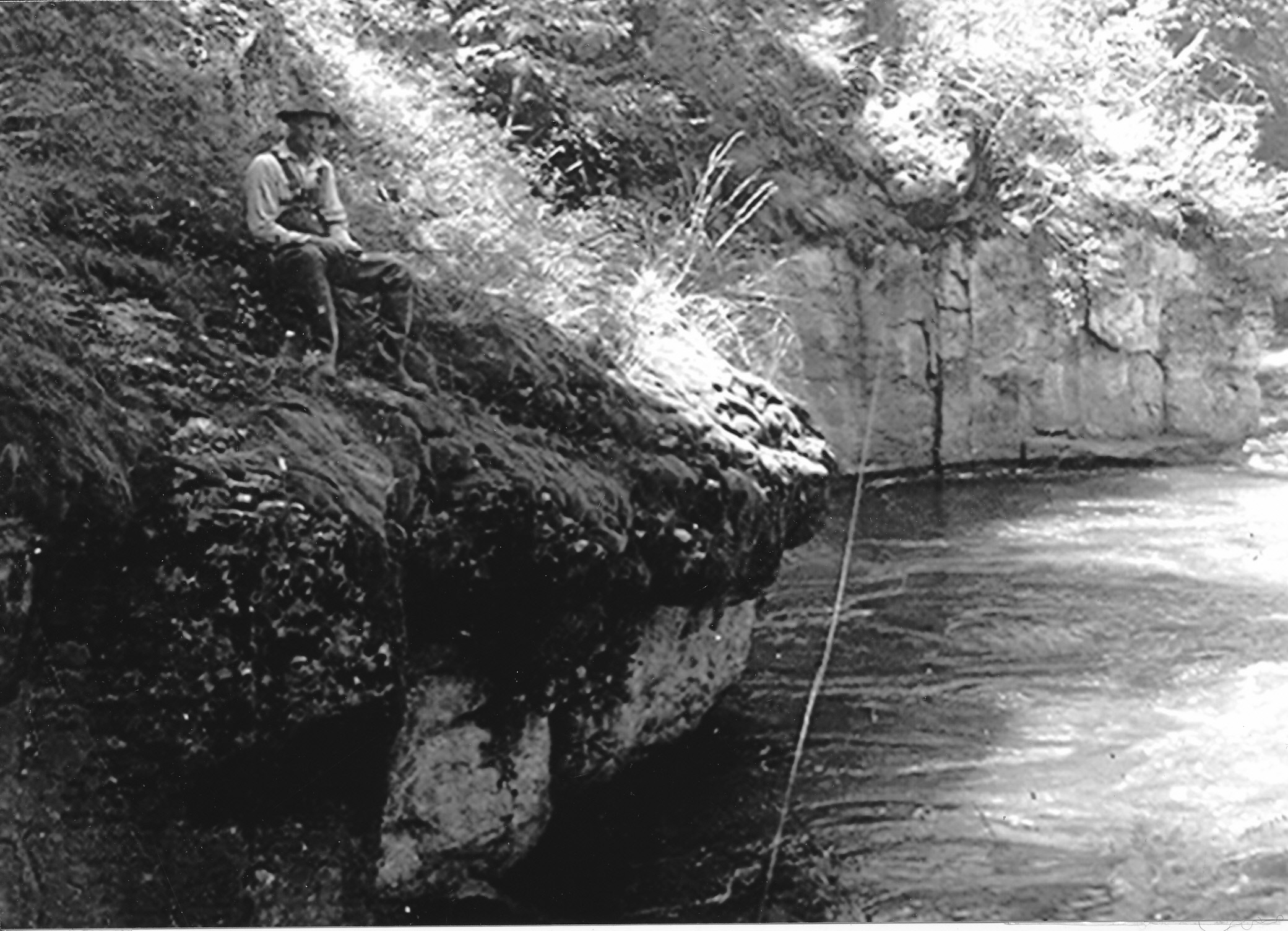 Joe Nelson fishing at The Ledges, 1940