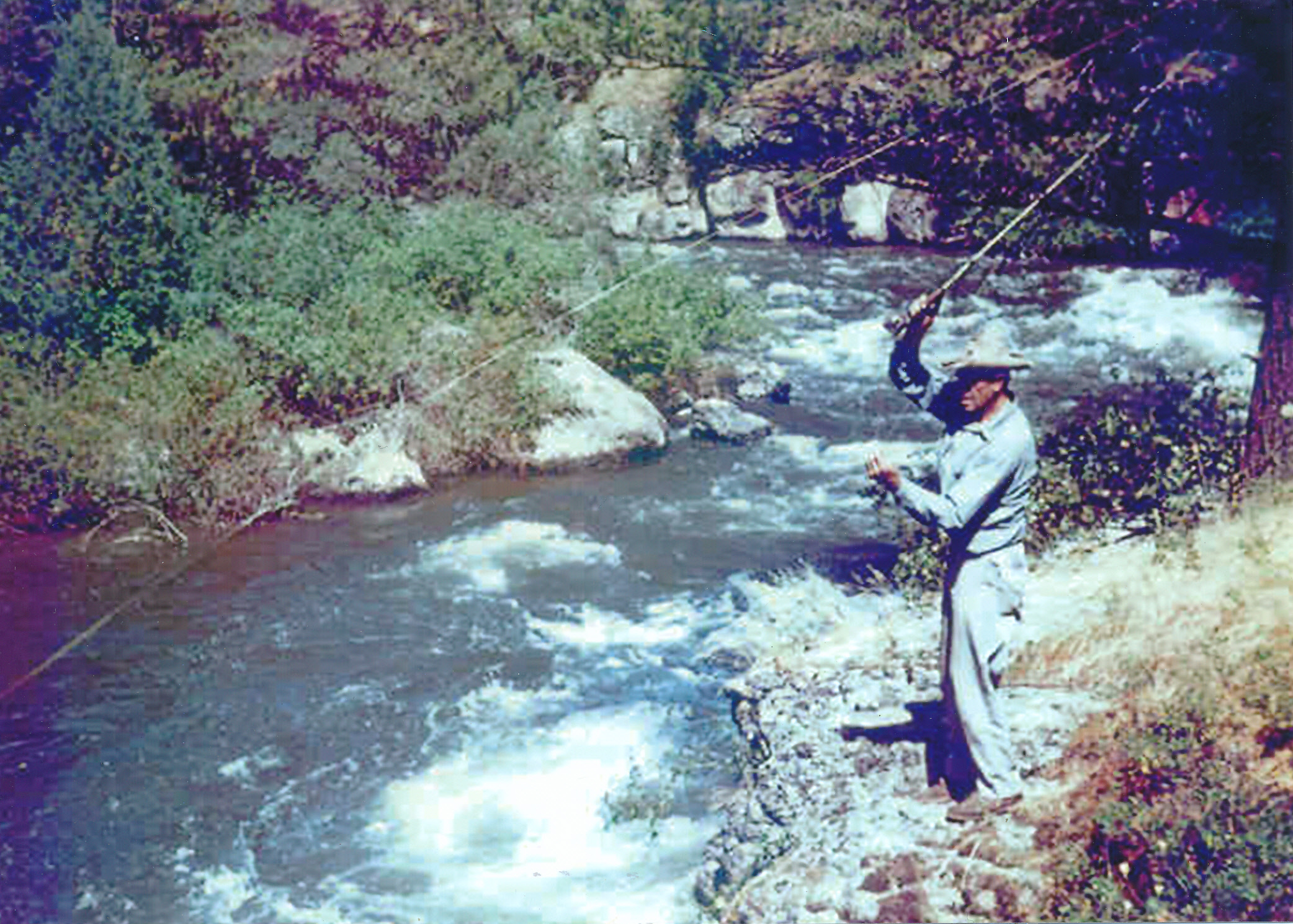 Henry Nelson fishing at The Ledges, 1970