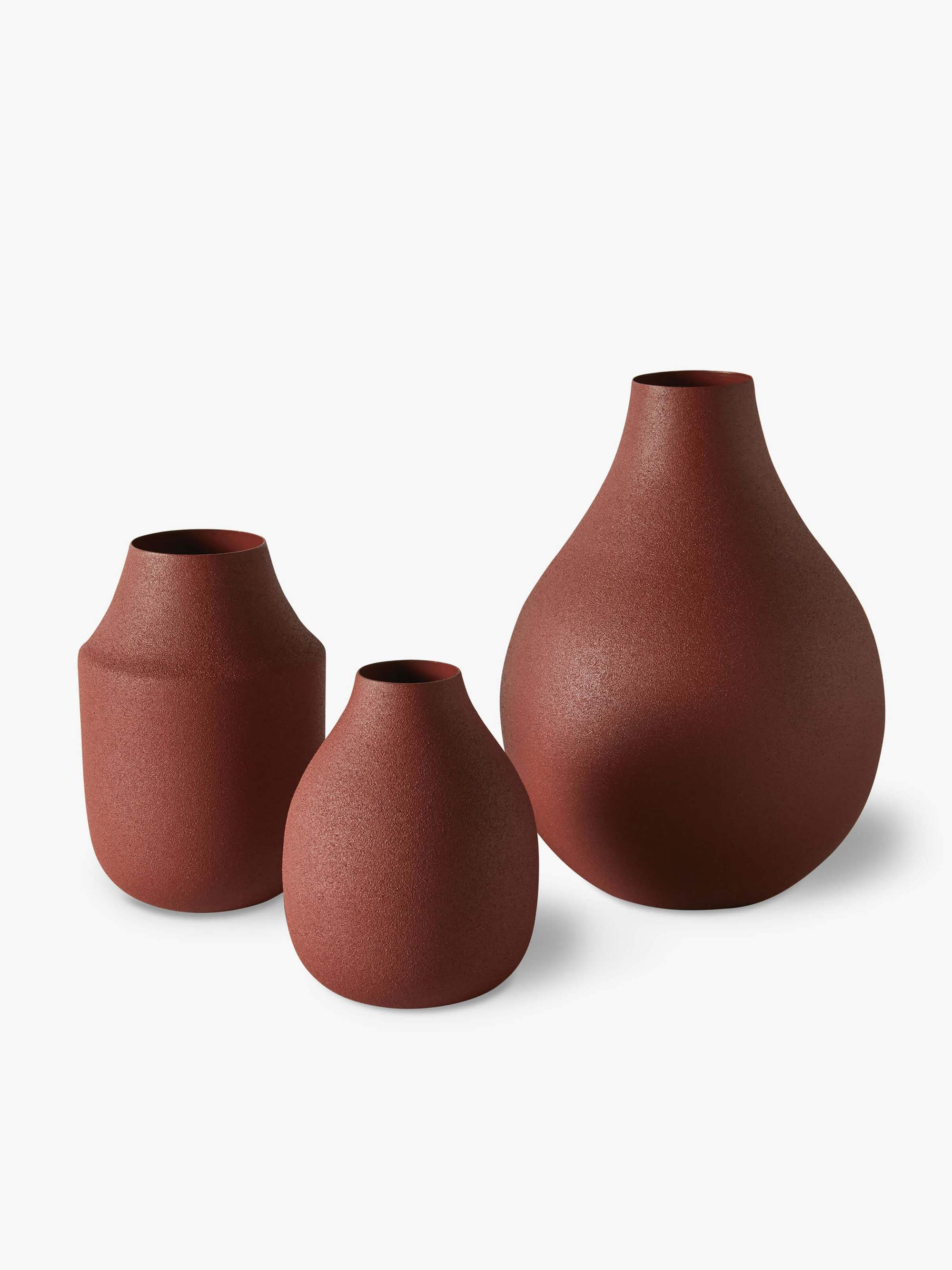 Textured Vase Trio Clay