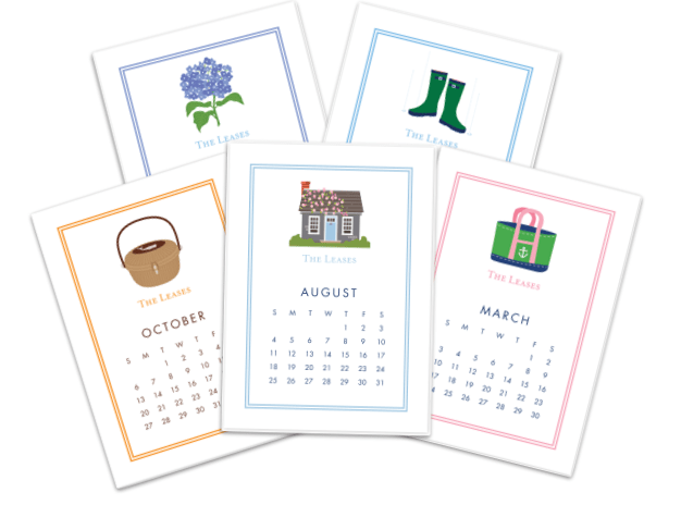 Nantucket Desk Calendar with Nantucket Basket