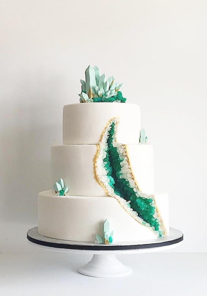 Green geode cake