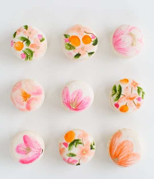 Pink + Orange Floral Macarons