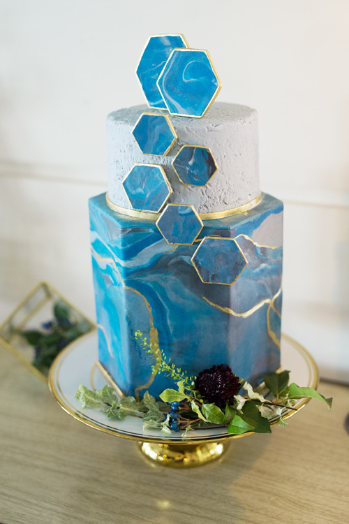Blue agate wedding cake