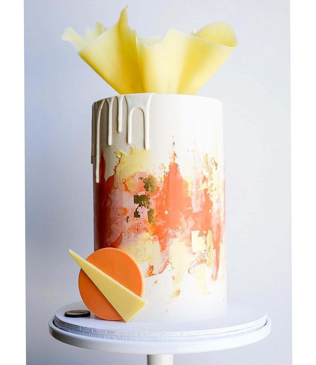 Yellow and Orange Modern Shape Cake