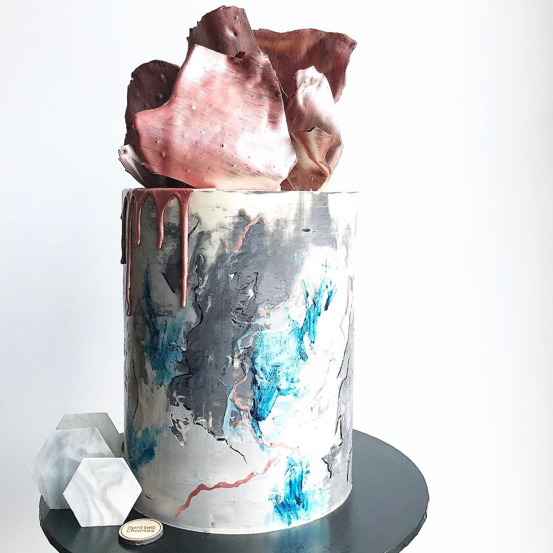 Metallic Geometric Painted Cake