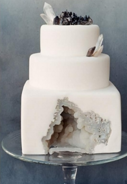 Black and white geode cake