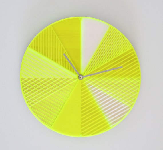 Neon Yellow Wall Clock
