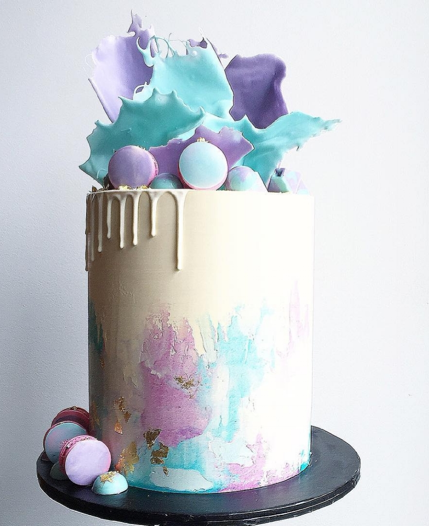 Macaron Watercolor Stroke Cake