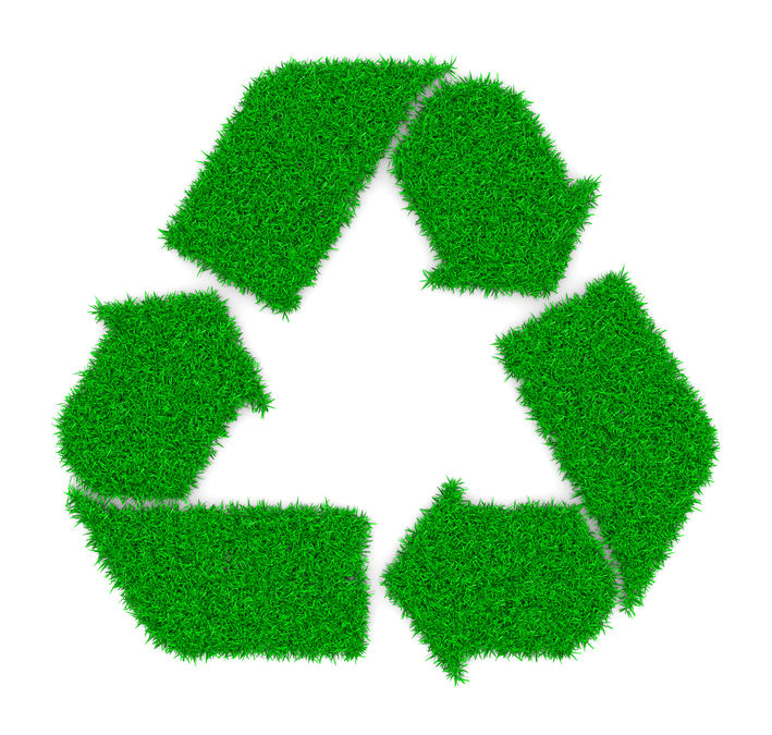 recycling symbol grass effect