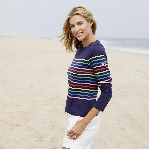 women rainbow striped shirt