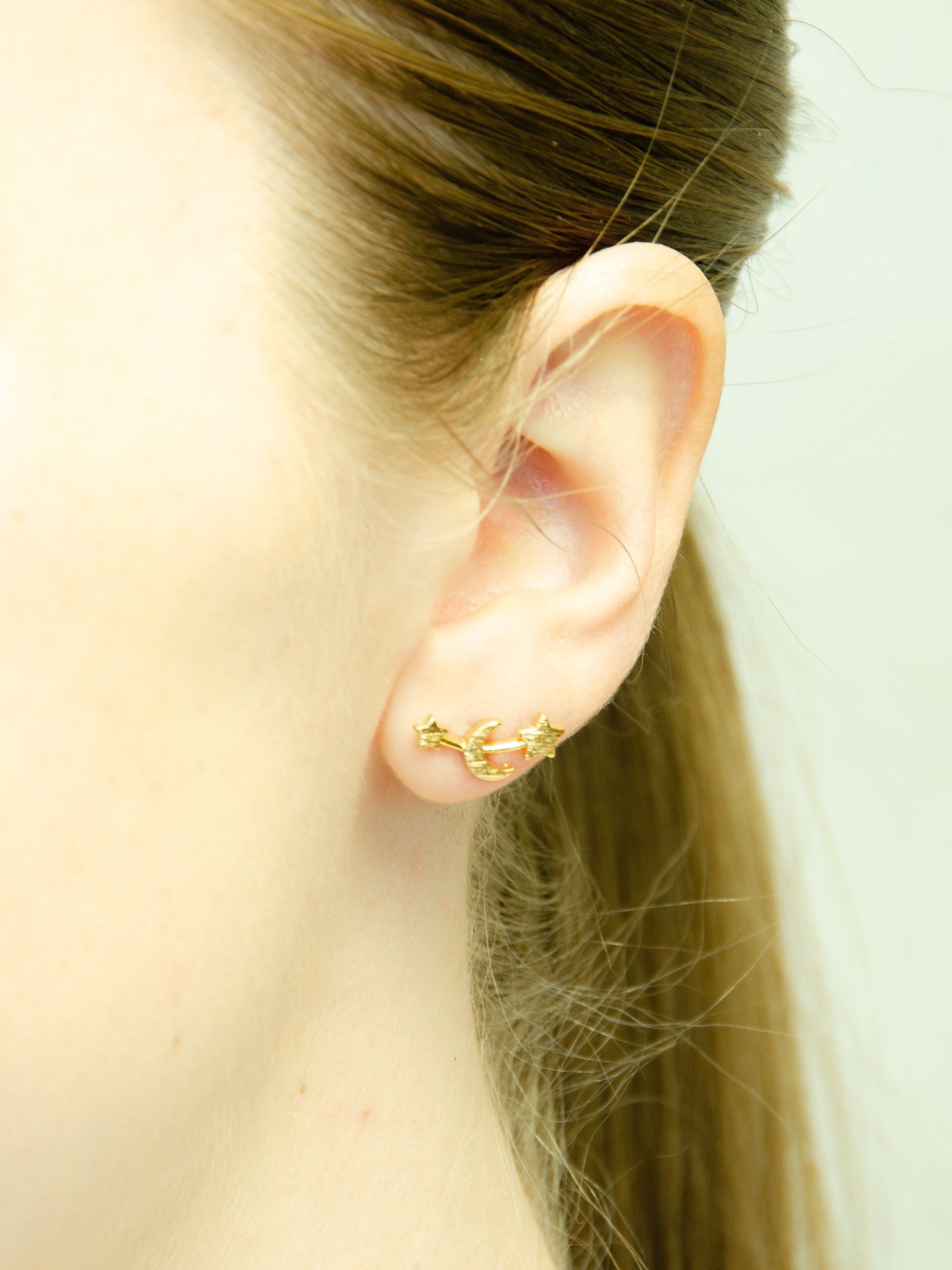 14K Gold Stars and Moon studs
