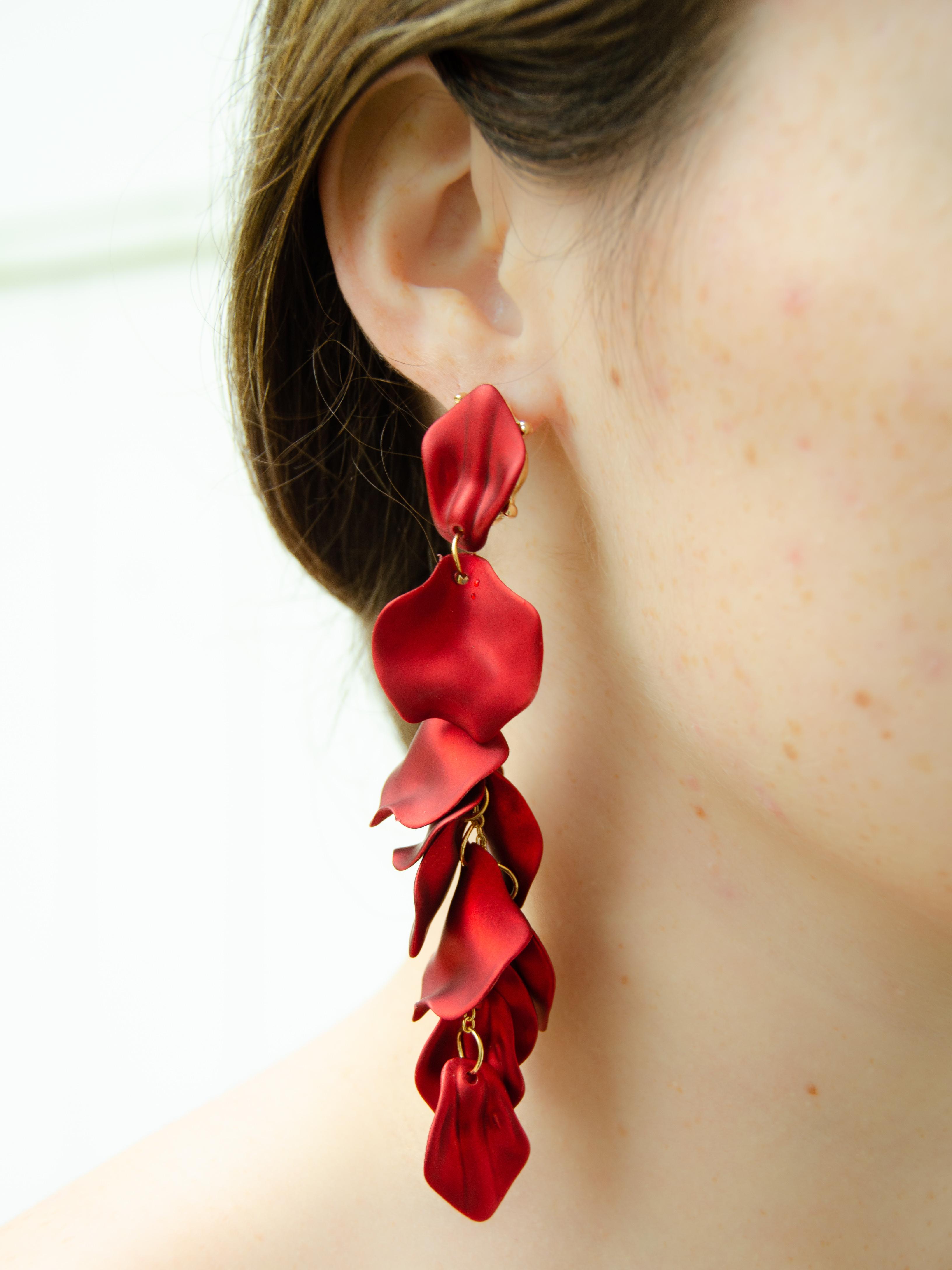 Red Statement Flower Petal Sterling Silver Drop Earrings