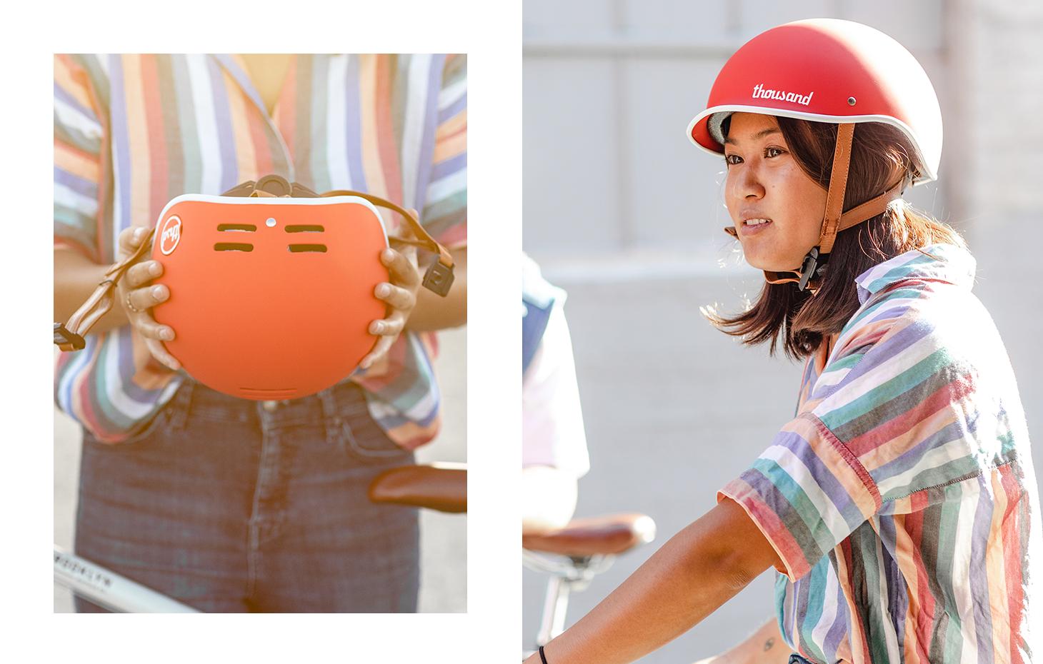 Red bike helmet