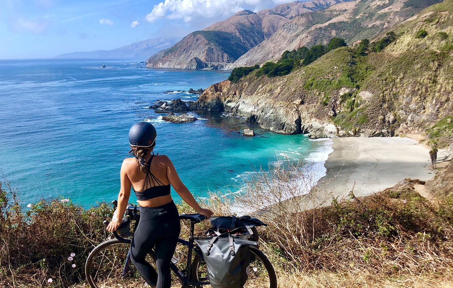 Lauren Hanano wear blue bike helmet