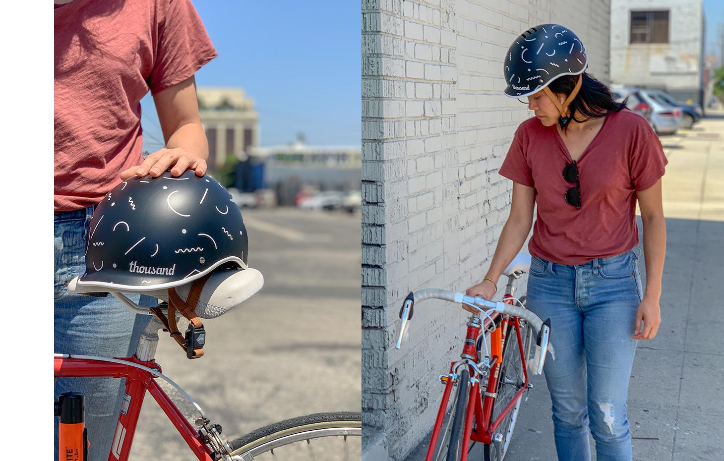 Gloria with Thousand x Poketo bike helmet, Memphis Movement