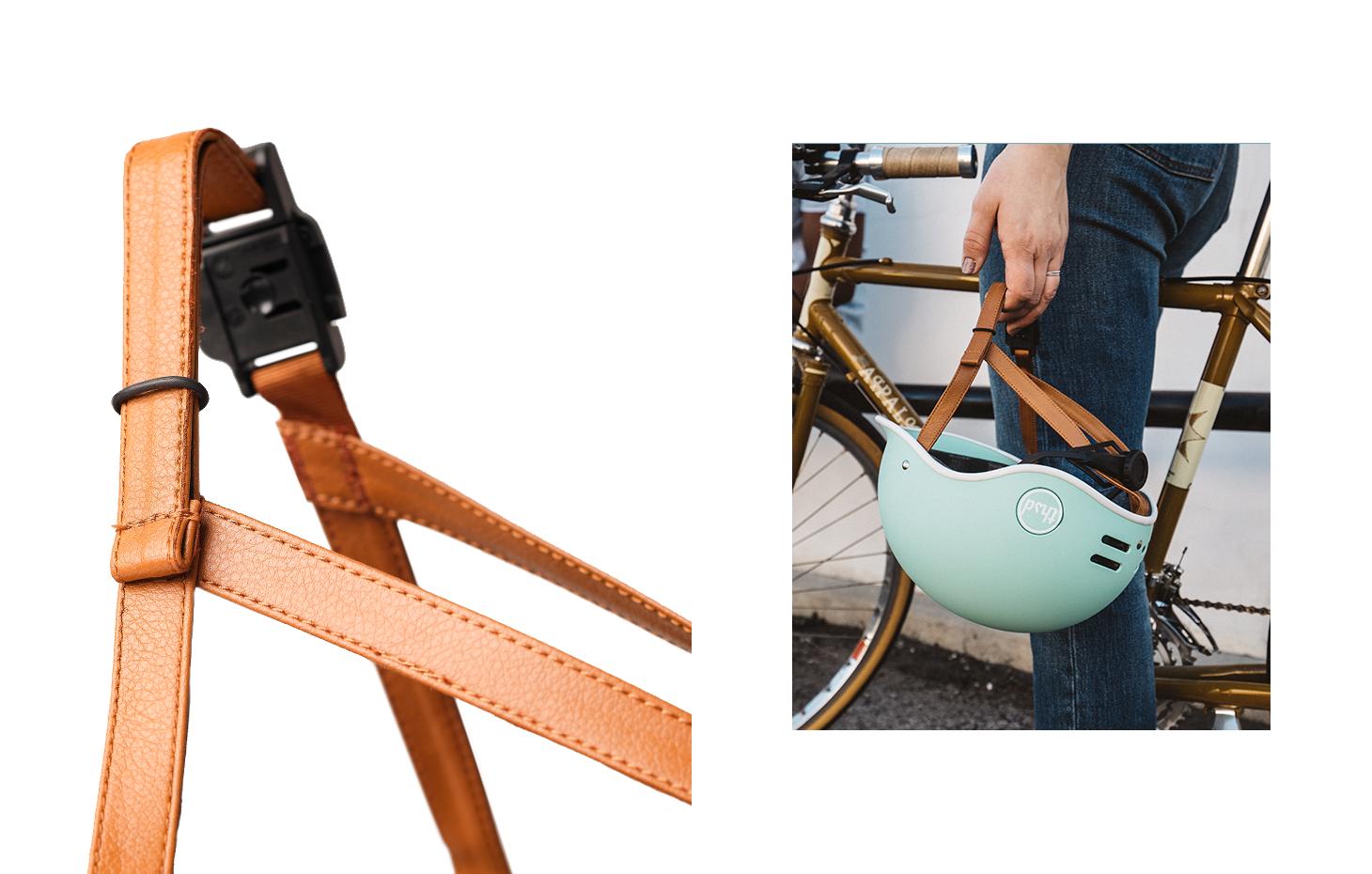 Vegan leather bike helmet straps