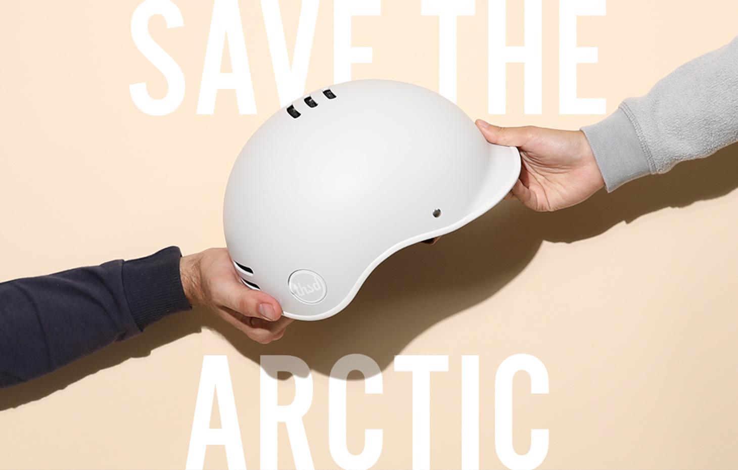 Save The Arctic, grey bike helmet