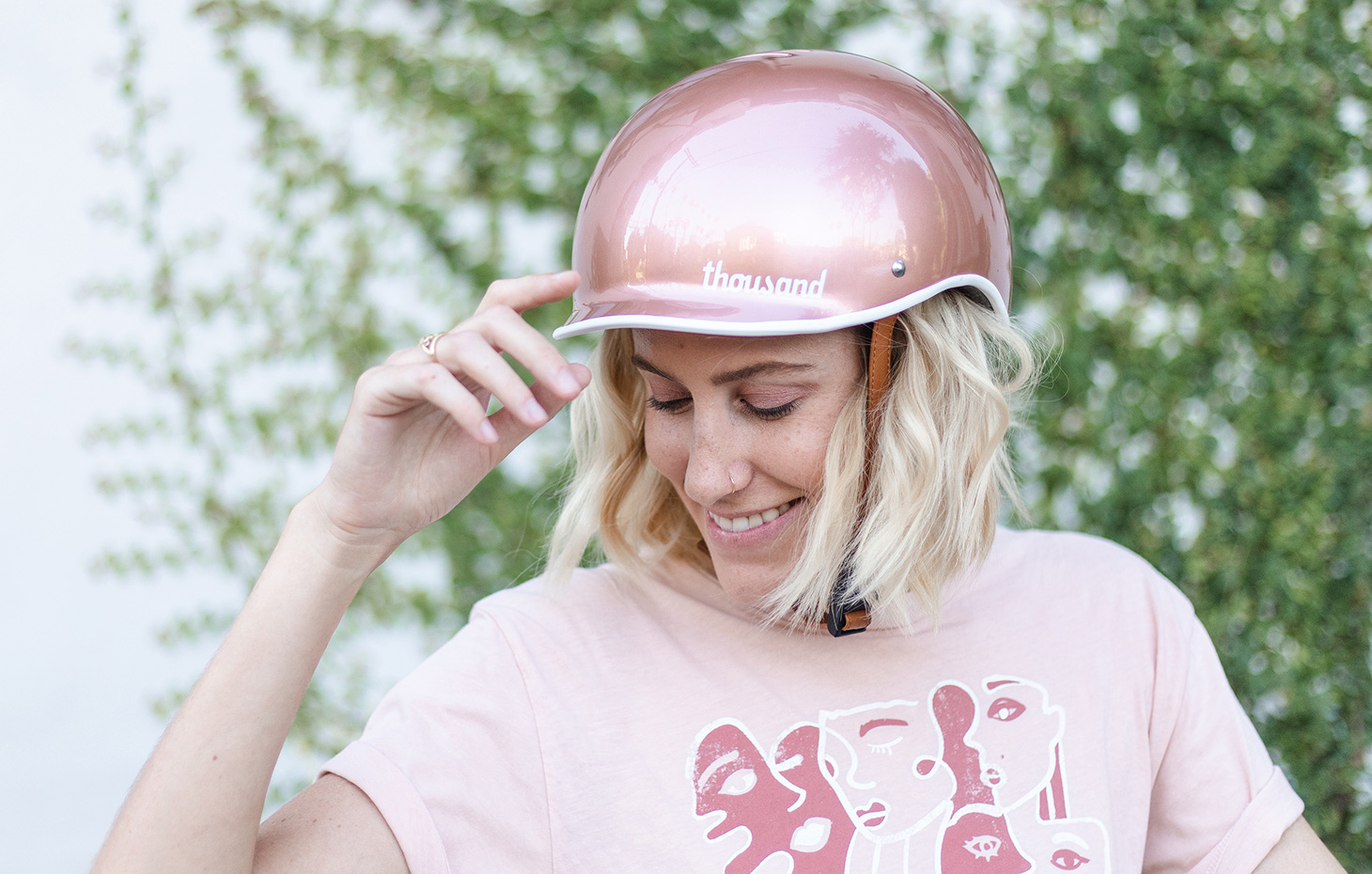 Dani Nagel wearing Rose Gold bike helmet