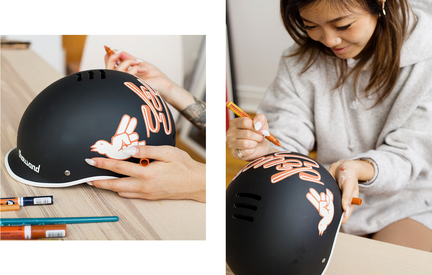 Jennet Liaw customizing a black bike helmet
